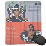 DAOPUDA Alfombrilla Raton Black Rapper Rap y Hip Hop Music Place Alfombrilla Gaming Alfombrilla para computadora con Base de Goma Antideslizante,250×300×3mm