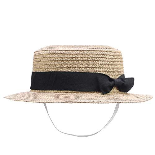 IFSUN Straw Sun Hat Kids Boy Girls Boater Summer Beach Cap Bucket Hat Beige