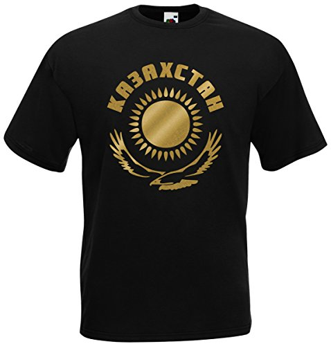 Kasachstan Ka3axctah T-Shirt Fanshirt Trikot EM-2021 Schwarz XXL