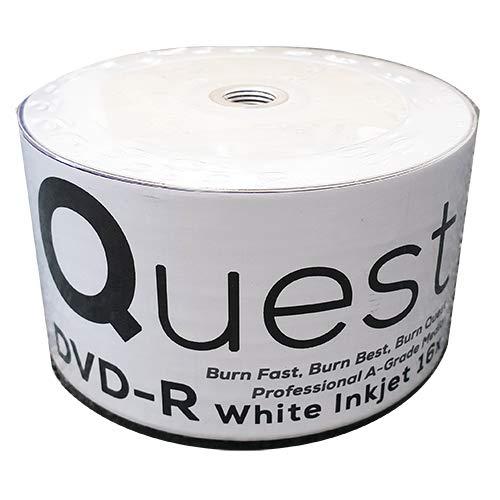 Quest Lot de 50 DVD-R vierges avec revêtement blanc pour impression au jet d'encre, 16 x 4,7Go, Grade A