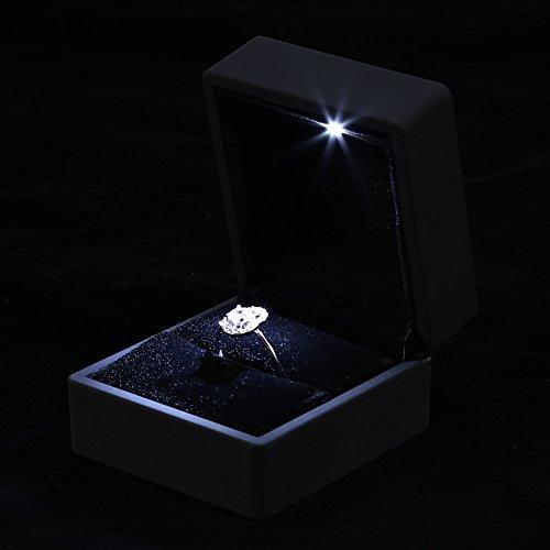 boîte à bagues à bijoux avec lumière LED, pour engagement de proposition, anniversaire de la Saint-Valentin, boîte de rangement cadeau pour vitrine de bijoux de mariage(boîte de bague)