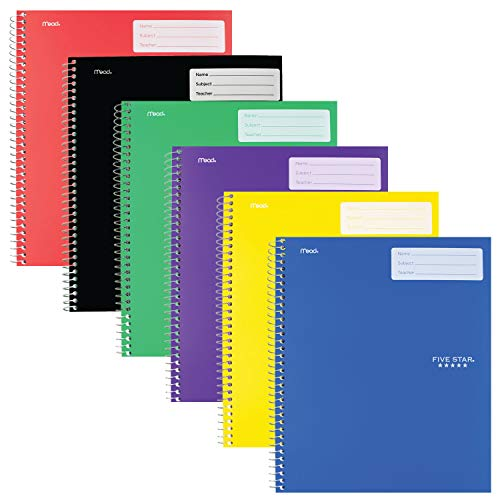 """Five Star Interactive Notetaking, 1 Subject, Wide Ruled Spiral Notebooks, 100 Sheets, 11"""" x 8-1/2"""", 6 Pack (38607)"""