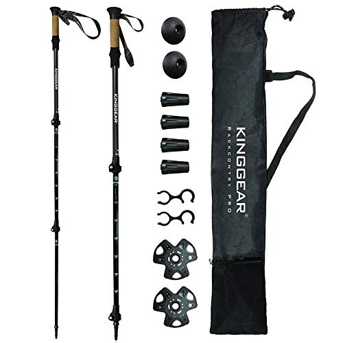 KINGGEAR Trekking Poles, Collapsible Adjustable Walking Sticks, Lightweight 7075 Aluminum, Quick Flip Lock, Anti-Sweat Cork, Tungsten Tips for Hiking, Nordic Walking and Cross Trekking(Black)