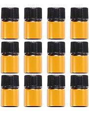 ULTNICE Botellas de cristal mini de 2 ml con reductor de orificio y tapón para aceites esenciales o perfumes (12 unidades)