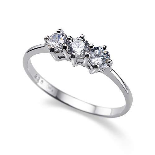 Oliver Weber Collection SimpleThree – Ringe Silber 925, rhodiniert • Premium Schmuck Kollektion, Ring mit Swarovski Kristall • Ideale Geschenkidee für Damen