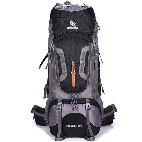 AMAZOM Zaino da Trekking 80L, Uomo Donna 80L Zaino Impermeabile Zaino da Trekking Zaino da Viaggio Zaino da Escursionismo Esterno per Escursionismo, Alpinismo E Sport di Viaggio,Nero