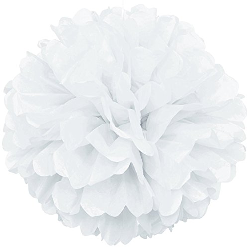 Lightingsky 10pcs DIY Decorative Tissue Paper Pom-poms Flowers Ball Perfect for Party Wedding Home Outdoor Decoration (6-inch Diameter, White)