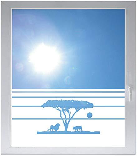 INDIGOS UG Sichtschutzfolie Glasdekorfolie Fensterfolie mit Motiv satiniert Blickdicht - w551 Afrika/Steppe Löwe mit Tiger - 1000 mm Länge - 500 mm Höhe Streifen