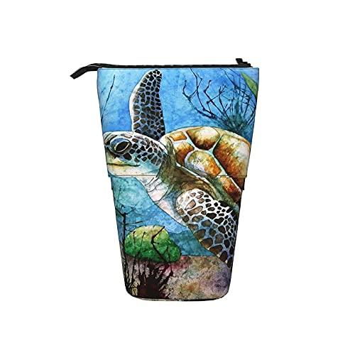 La caja de lápiz telescópica se levanta el bolso de la pluma, caja linda impresa tortuga marina del organizador...