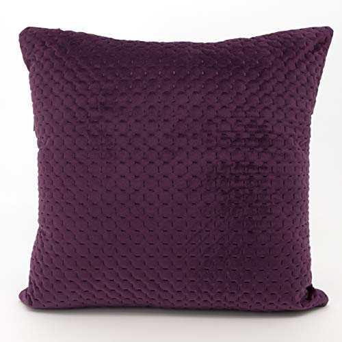 Adam Home Quilted Velvet Cushion Covers (2 Pack, Aubergine) - Square Pillow Case 43CM x 43CM Quilted Throw Cushion Covers- Elegant Euro Sham Cover- Decorative Sham cover for Car, Sofa, Bedroom
