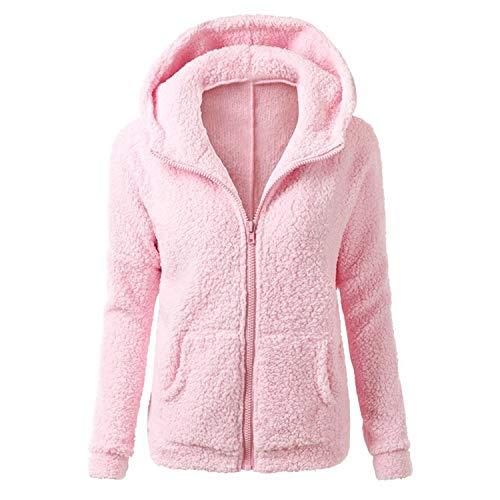 Lisa Billy Jacket Solid Color Coat Women Thicken Soft Fleece Outwear Coat Winter Autumn Warm et Hooded Zipper Overcoat XL Pink