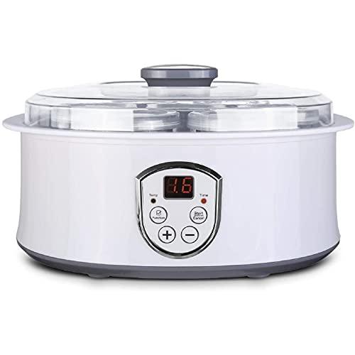 Yogurtera Eléctrica, Yogurtera con Termostato Ajustable y Temporizador, 7 Tarros de 180ml, Máquina para Yogur Natural con Pantalla LCD, 20W