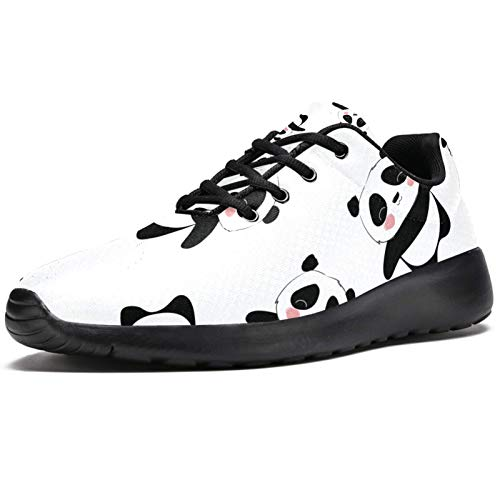 Zapatillas deportivas para correr para mujer Baby Panda Animal chino negro blanco moda zapatillas de deporte de malla transpirable caminar senderismo tenis zapato, color, talla 39 EU