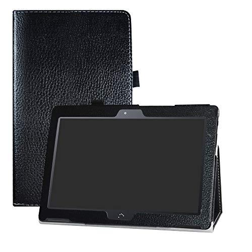 LFDZ BQ M10 Funda, Soporte Cuero con Slim PU Funda Caso Case para 10.1' bq Aquaris M10 FullHD FHD HD/Aquaris M10 Ubuntu Edition Tablet,Negro