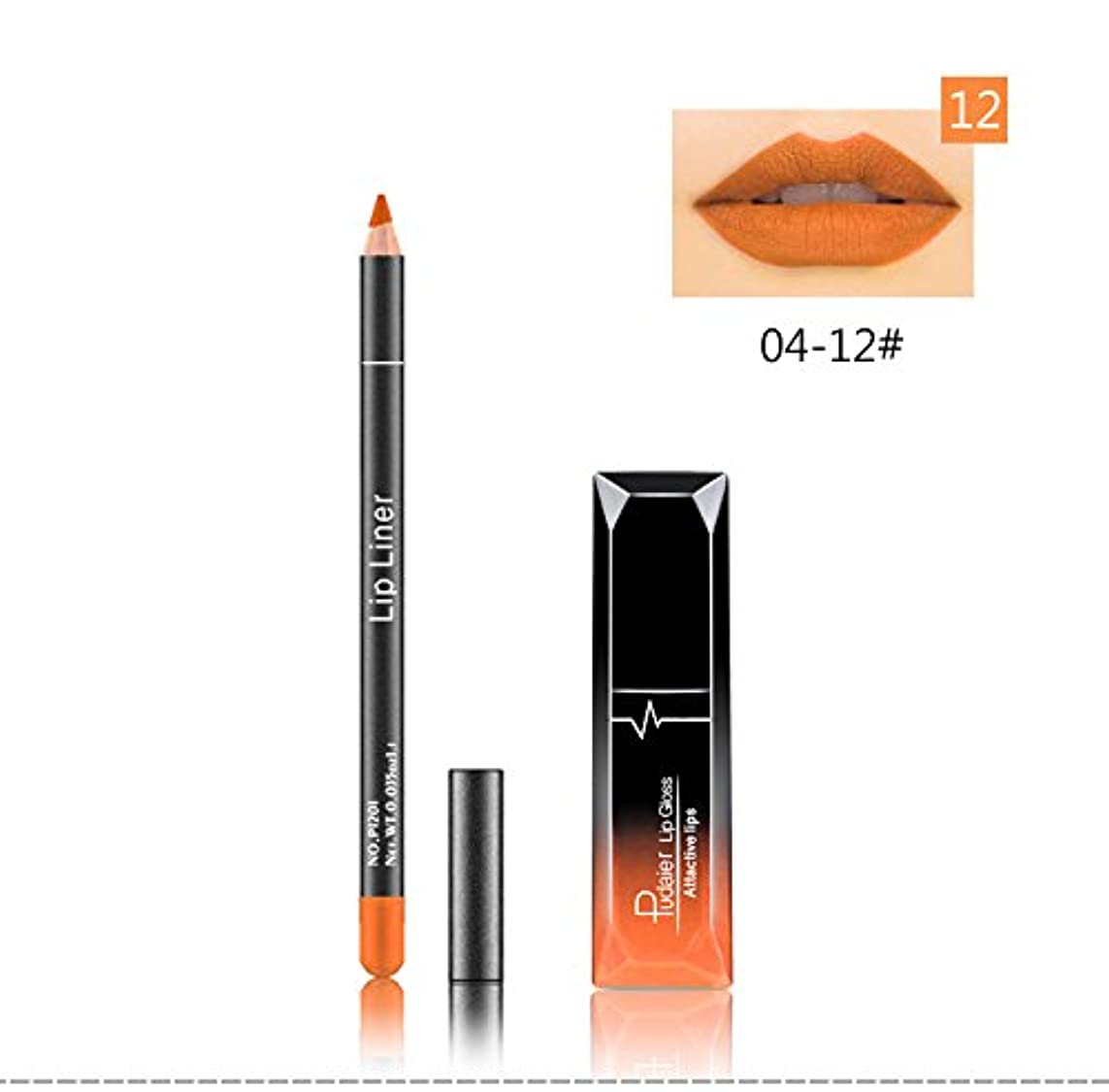 論争の的浸したアラブ人(12) Pudaier 1pc Matte Liquid Lipstick Cosmetic Lip Kit+ 1 Pc Nude Lip Liner Pencil MakeUp Set Waterproof Long Lasting Lipstick Gfit