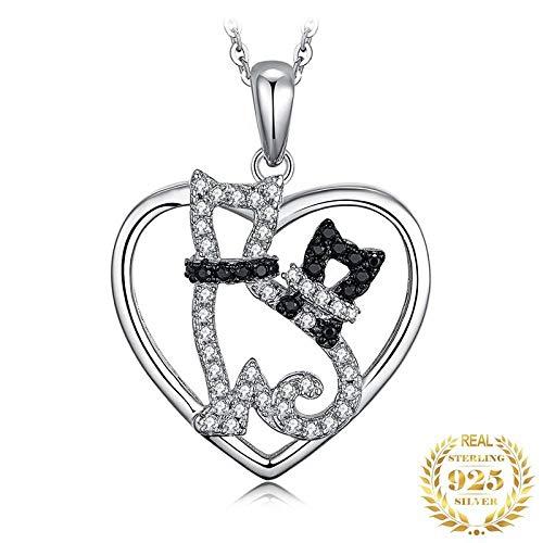 Angelazy Colgantes De Plata 925 para Mujer,Moda Chainless Romántico Lindo Gato Negro Natural Forma De Espinela Encante para Damas Accesorios Joyas Regalo De Cumpleaños Parte Accesorios