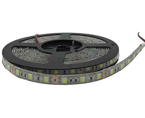 YXH® Striscia LED (5m) bianco freddo 12v illuminazione led (Cucina, Store, Ufficio, Natale) Decorazione interna ed esterna , flessibile impermeabile ( 16.4ft SMD 5050, 6000 K)
