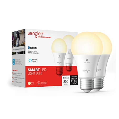 Sengled BLE Smart Bulb 2 Pack, Works with only Alexa, Bluetooth Mesh Smart Light Bulb, Dimmable LED Light, 800LM, Soft White 2700K, 60W Equivalent, Certified for Humans Device