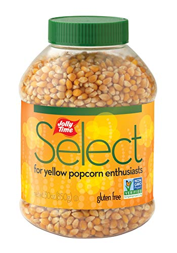 JOLLY TIME Select Popcorn Kernels – Gourmet Yellow Popping Corn, 30 Ounce Bulk Jars for Air Popper Machine or Stovetop (Pack of 6)
