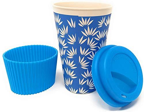 Vaso Café para Llevar Reutilizable - Vaso Termico de Fibra de Bambu con Tapa de Silicona y Funda Antideslizante - Taza Termica Ecologica de Viaje - Coffee To Go - Apto Lavavajillas - Eco, Bio, sin BPA