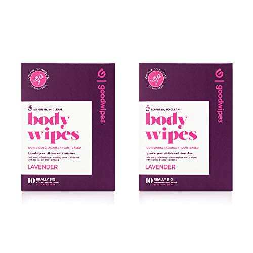 Goodwipes Body Wipes, Lavender Scent, 10 Individually Wrapped Wet Wipes (Pack of 2)