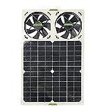 KKmoon 40W 単結晶シリコン ソーラー パネル デュアル ファン排気ペット ハウス トラック トイレ排気ツール ソーラー ファン