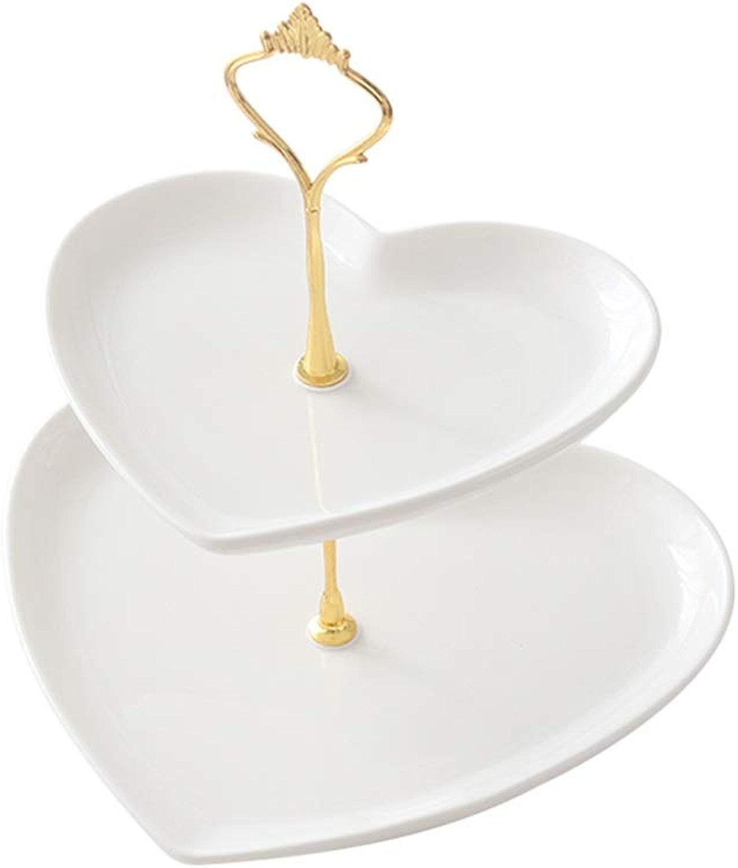 Assiette à Dessert Double Support à Gateau en Céramique Aux Fruits, Cadre De Support en Métal en Forme De Coeur JSSFQK