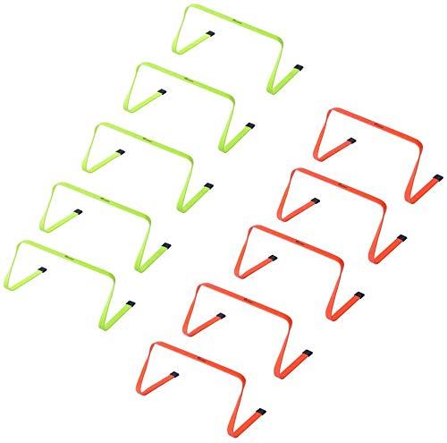 Kosma - Juego de 10 obstáculos planos para entrenamiento de agilidad | multideporte de velocidad con asa de transporte: tamaño 9 pulgadas, color naranja, 5 unidades amarillo