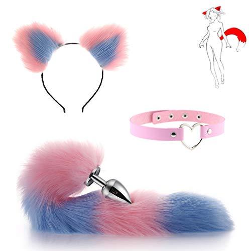 Furry - Gargantilla de acero inoxidable con cola de zorro y orejas de gato, con gargantilla, juguetes para unisex (rosa-azul, L)