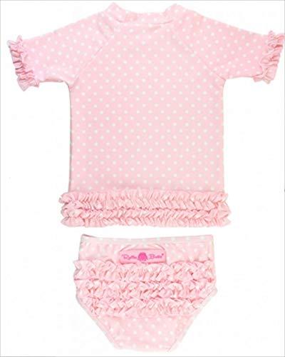 RuffleButts ラッフルバッツ 水着 ラッシュガード 女の子 ベビー ポルカドット(12-18m(75cm), Pink(ピンク)) [並行輸入品]