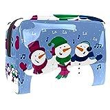 Bolsa de maquillaje de viaje para cosméticos, bolsa de cepillo, bolsa de aseo portátil, bolsa de maquillaje de viaje, linda canción de muñeco de nieve de Navidad
