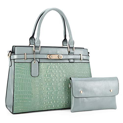 Borsa a mano da donna elegante grande borsa a tracolla per ufficio scuola shopping, Verde (2169-t101#7191-verde), Large