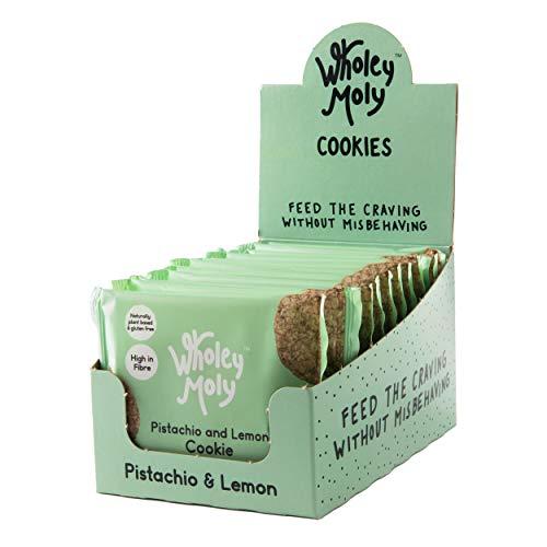Wholey Moly - Pistachio & Lemon Cookie - Vegan, Low Sugar Cookie | 12 x 35g Cookies