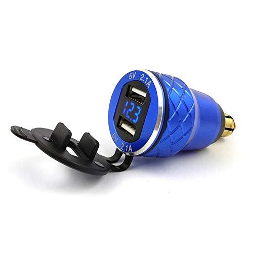 MeiZi Zócalo del Cargador del Enchufe de Adaptador de aleación de Aluminio 12V-24V DIN EN USB Adaptador en Forma for Moto BMW R1200GS R1200RT R1200LC Dual USB (Color Name : Black)