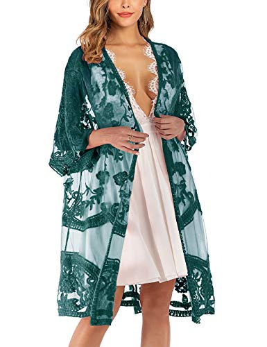 iWoo Kimono sexy para mujer, de encaje, con flores, crochet, parte delantera, chaqueta de punto, para verano, playa, vestido largo A-verde oscuro. Tallaúnica