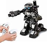 HLKJGS Fernbedienungs-Kampfroboter, RC-Roboterspielzeug mit Fernbedienungsgriff, 2,4 g RC-Roboter-Kampfboxroboter Spielzeug-Kampfspiel für Eltern und Kinder Geschenk (Weiß + Schwarz)