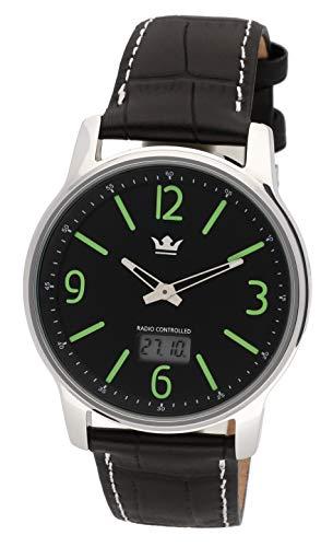 MARQUIS Herren Armbanduhr Funkuhr Schwarzes Lederarmband mit Edelstahlverschluss Edelstahlgehäuse 4718-135