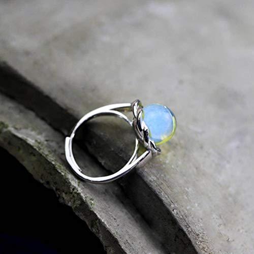 WOZUIMEI Chinesischer Ringschmuck Weiblicher Schmuck S925 Reiner Silberringschmuck Mexikanischer Blauer Bernstein Verstellbarer RingBlauer Bernsteinring