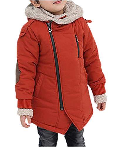 [chunatch]厚手 フード付き 綿 ボア ジャケット コート ジャンバー 斜めジッパー キッズ ジュニア ボーイズ 男児 ワイド ワイドパンツ ゆる サイズ 大きめ おおきい ビッグ 秋物 おしゃれ オシャレ カワイイ かわいい 可愛い きれいめ 秋