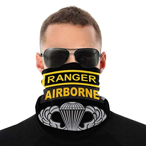 US Army Ranger Tab Airborne and Wings Men Women Neck Warmer Face Mask Bandanas Hat White
