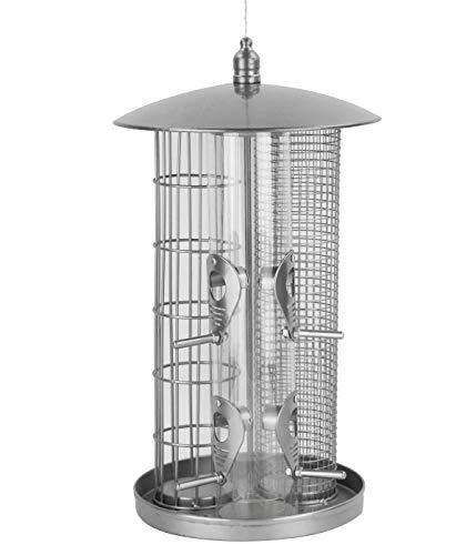 Dehner Natura Wildvogel-Futterspender Triple, Ø 22 cm, Höhe 36,5 cm, Metall, silber