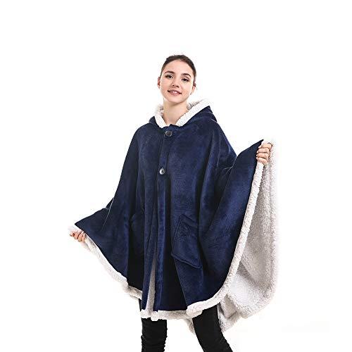 SETSCZY Manta con Capucha, diseño de Poncho, Elegante Poncho Manta de Felpa cómoda Manta de Felpa para Adultos Mujeres Hombres niños Manta Abrigo Abrigo Cubierta hogar o al Aire Libre,A