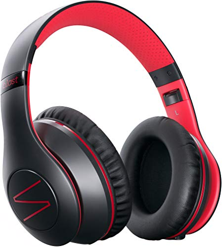Cuffie Wireless Bluetooth Symphonized Blast con Microfono, Cuffie Sovrauricolari per iPhone, Samsung e altro, 22 Ore di Riproduzione Continua per Viaggio/Lavoro, Cuffie con Bassi Profondi (Rosso)