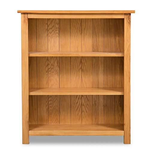 Cikonielf Estantería para Libros con 3 compartimientos para Hogar, Oficina, Estantería de Madera de Roble de Piso 70 x 22,5 x 82cm