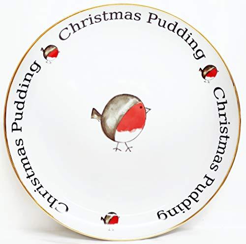 Fat Robin Plateau de 31 cm pour desserts de Noël, Assiette de service ronde en porcelaine dorée décorée à la main au Royaume-Uni