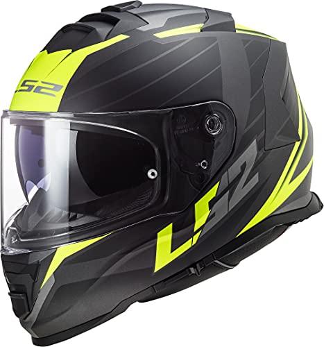 LS2 NC Casco para Moto, Hombre, Negro/Amarillo, Large