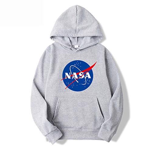 LLGHT Sudadera con Capucha para Hombre Jersey NASA Sudadera Unisex Casual Jersey con una Capucha y una Chaqueta de Manga Larga de Bolsillo de Canguro (Color : Gray, Size : Large)