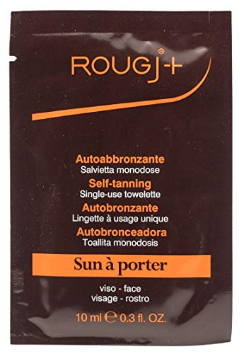 Rougj -Toallita autobronceadora monodosis, aplicación muy fácil y rápida, bronceado uniforme