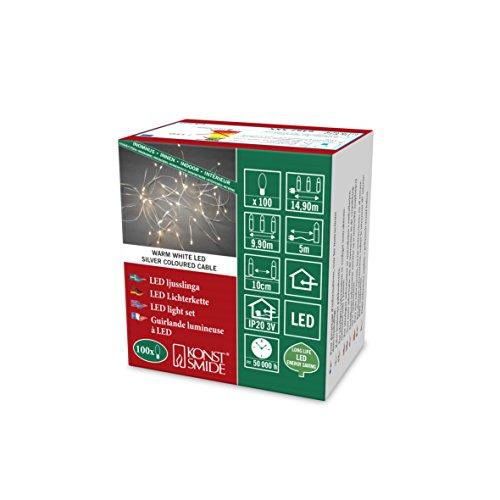 Konstsmide 6387-190 LED Tropfenlichterkette / für Innen (IP20) / 100 warm weiße Dioden / 3V Innentrafo / silberfarbener Draht