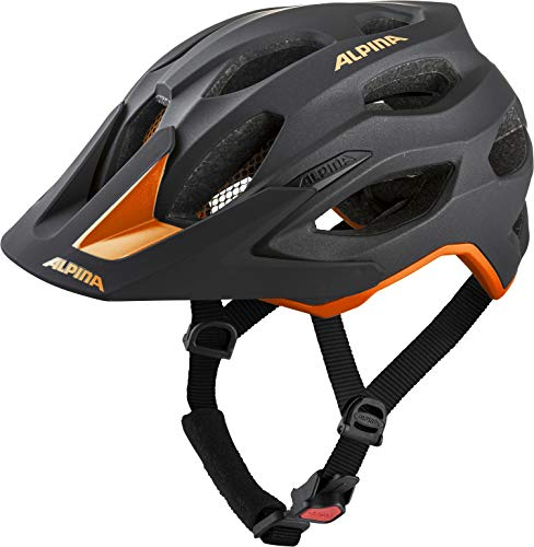 ALPINA CARAPAX 2.0 Fahrradhelm, Unisex– Erwachsene, black-orange, 52-57